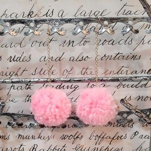 Bubble Gum Pink Handmade Pom Pom Earrings
